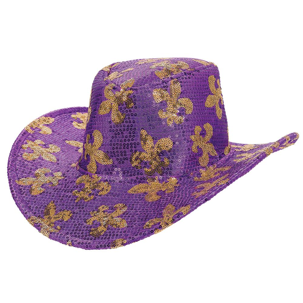 Amscan Sequin Fleur de Lis Mardi Gras Cowboy Hat Fleur de Lis lives on with our purple and gold sequined cowboy hat. Party on in style whenever you pop on this sequined cowboy hat. Gold Fleur de Lis pattern is offset by a snazzy purple, sequined background. You'll sparkle and shine cowboy style everywhere you go. Yee-haw.