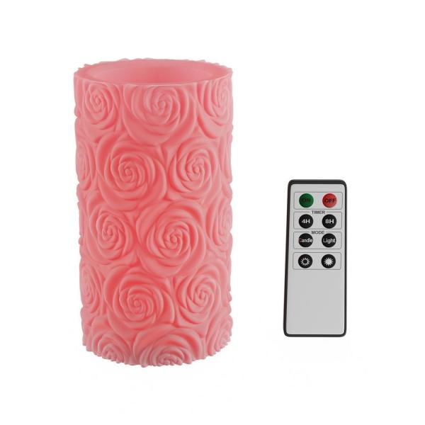 Lavish Home Rose Embossed LED Flameless Candle with Remote Control HW0200142