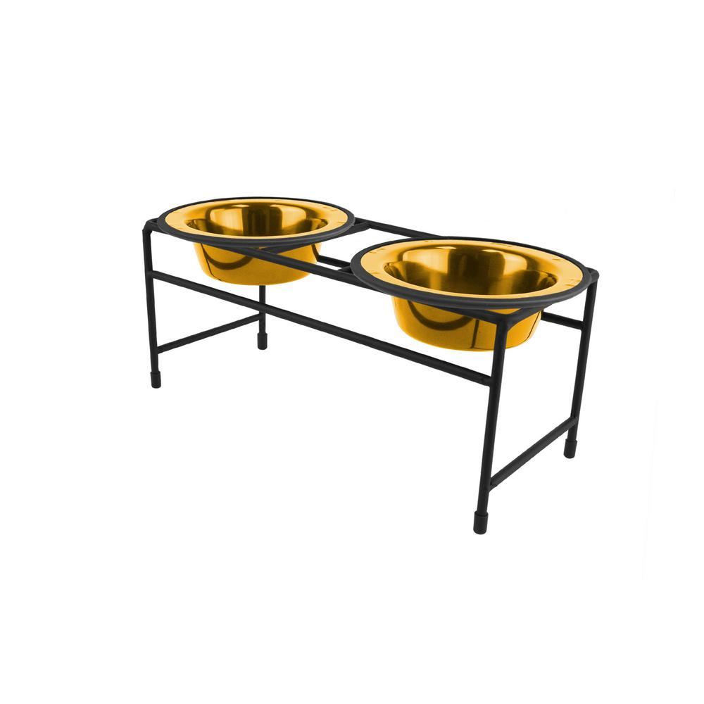 Platinum Pets .75 Cup Modern Double Diner Feeder with Cat/Puppy Bowls, 24K Gold