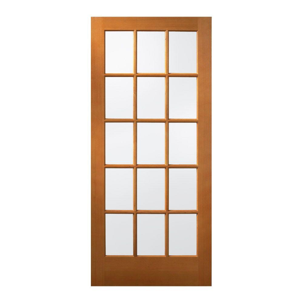 JELD-WEN 36 in. x 80 in. 15 Lite Unfinished Wood Front Door Slab ...