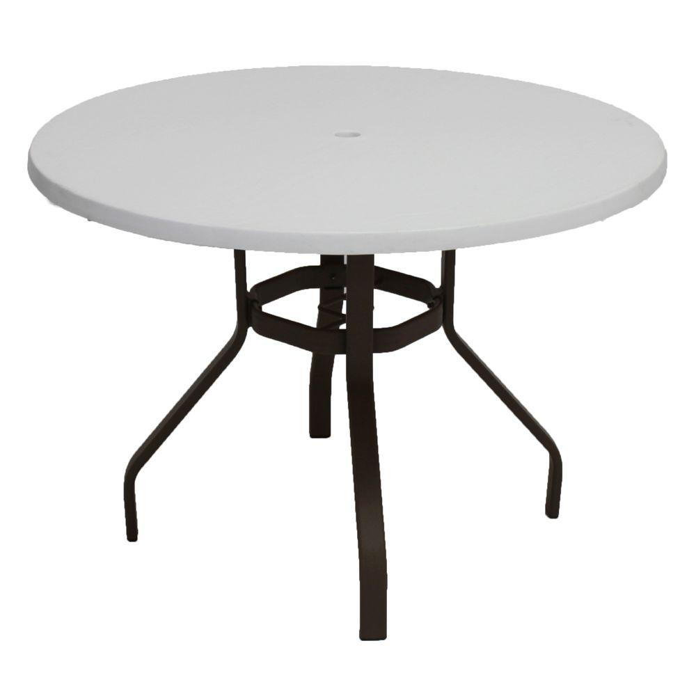 Marco Island 42 in. Dark Cafe Brown Round Commercial Fiberglass Metal