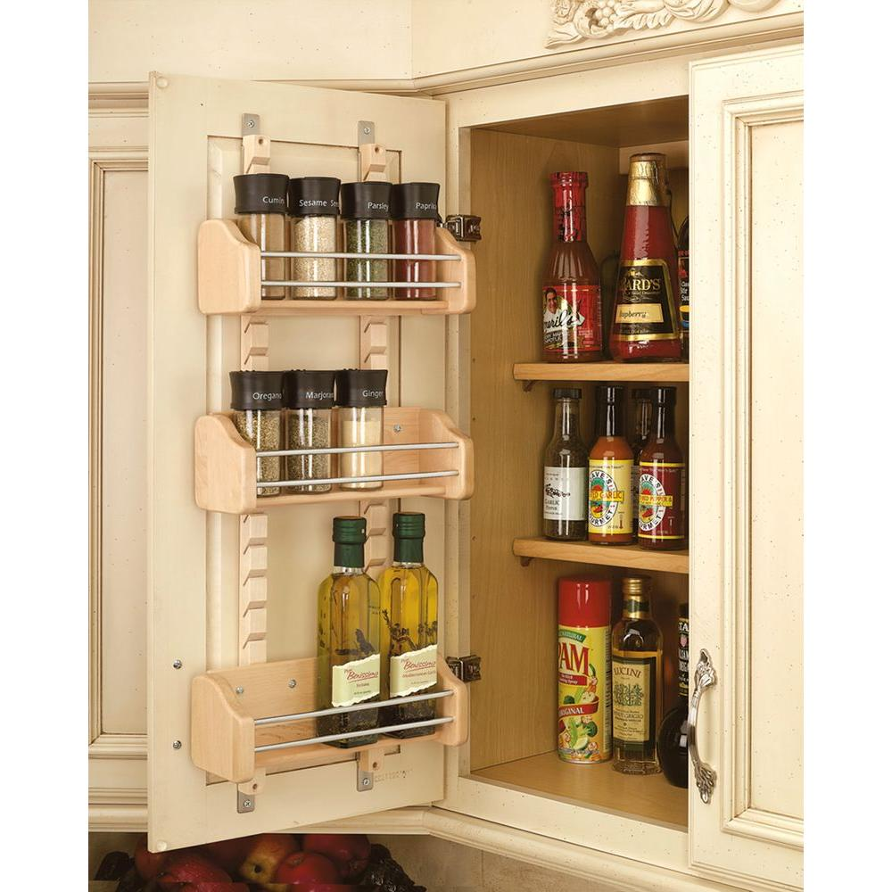 Rev A Shelf Spice Rack Door Mount 3 Adjustable Shelves Wooden Small