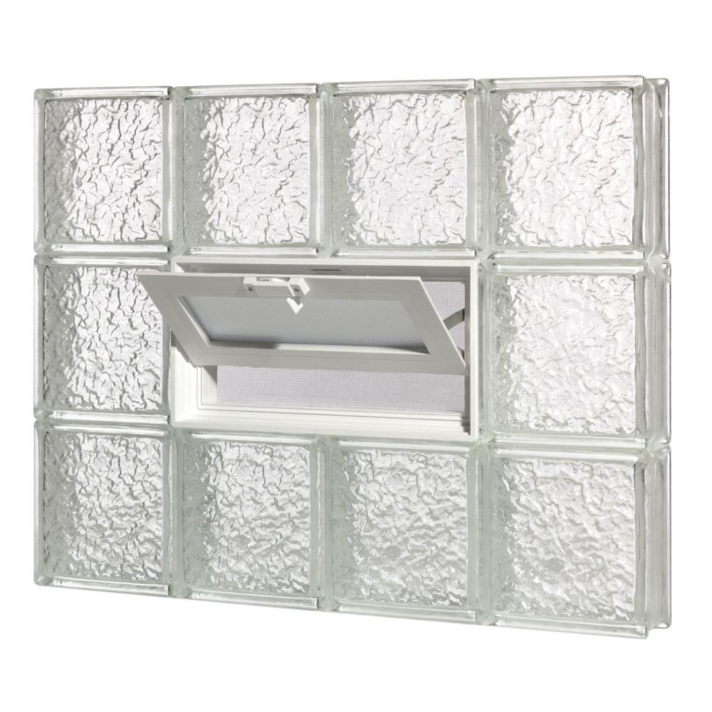 Pittsburgh Corning 24 in. x 34 in. x 3 in. GuardWise Vented IceScapes Pattern Glass Block Window