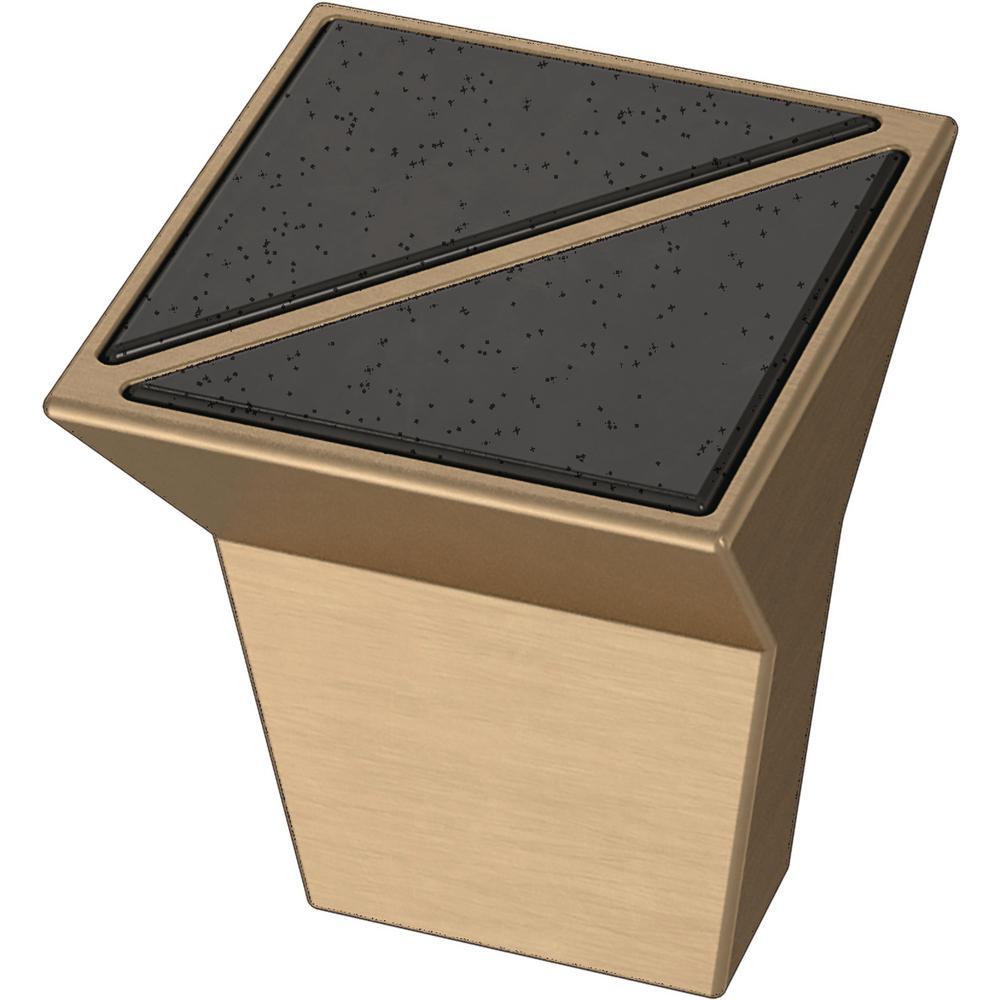 Modern Prism 1 in. (25 mm) Champagne Bronze and Black Smoke Cabinet Knob