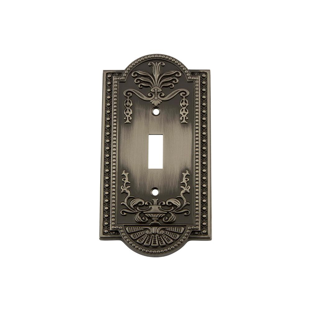 Meadows Switch Plate with Single Toggle in Antique Pewter