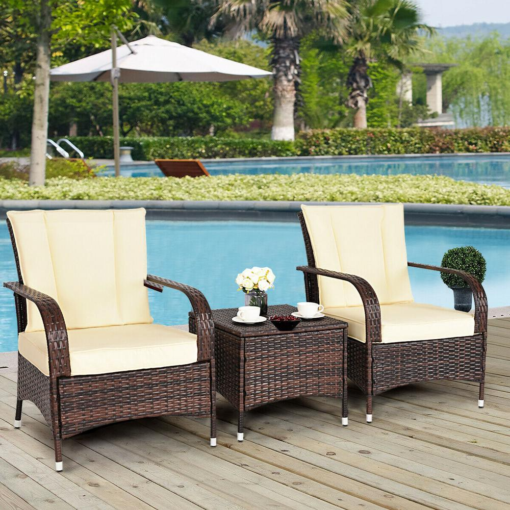 Costway Mix Brown 3 Piece Rattan Wicker Outdoor Furniture Patio Conversation Set With Beige Cushions