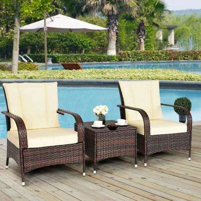 3-Piece Outdoor Patio Mix Brown Rattan Wicker Furniture Patio Conversation Set with Beige Cushions