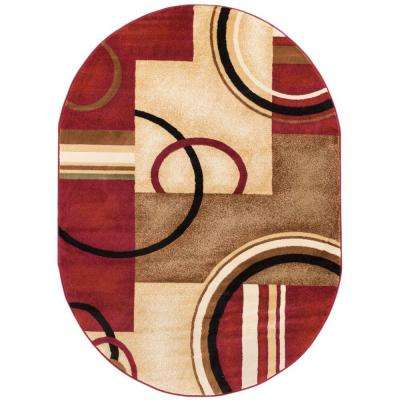 Barclay Arcs and Shapes Red 5 ft. x 7 ft. Modern Geometric Oval Area Rug