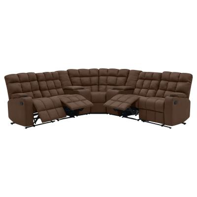 7-Piece Dark Brown Microfiber 4-Seater Curved Power Reclining Sectional Sofa with Storage Consoles