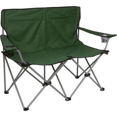Army Green 31.5 in. H Loveseat Style Steel Frame Double Camp Chair