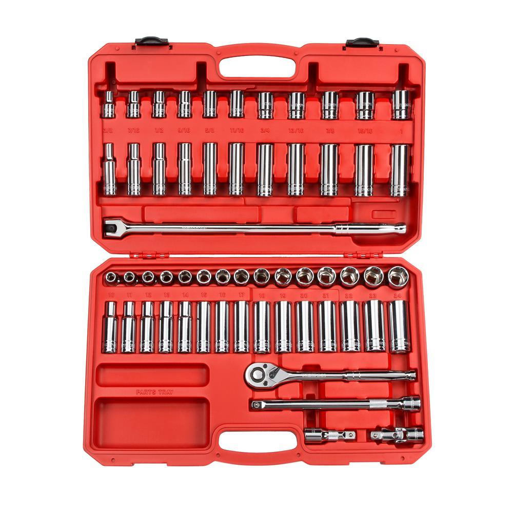 1/2 in. Drive 3/8-1 in., 10-24 mm 6-Point Socket Set (58-Piece)