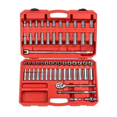 1/2 in. Drive 3/8-1 in., 10-24 mm 6-Point Socket Set (58-Piece)