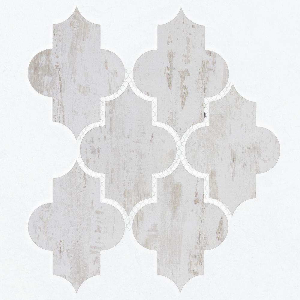 White Mosaic 4 in. x 6 in. Wood Look Matte Glass Mesh Mounted Decorative Bathroom Wall Backsplash Tile (0.51 Sq. ft.)