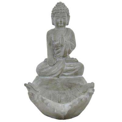 10.25 in. Terracotta Meditation Buddha Finished in Gray