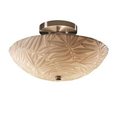 Porcelina 14 in. 2-Light Brushed Nickel Semi-Flush Mount with Bamboo Shade