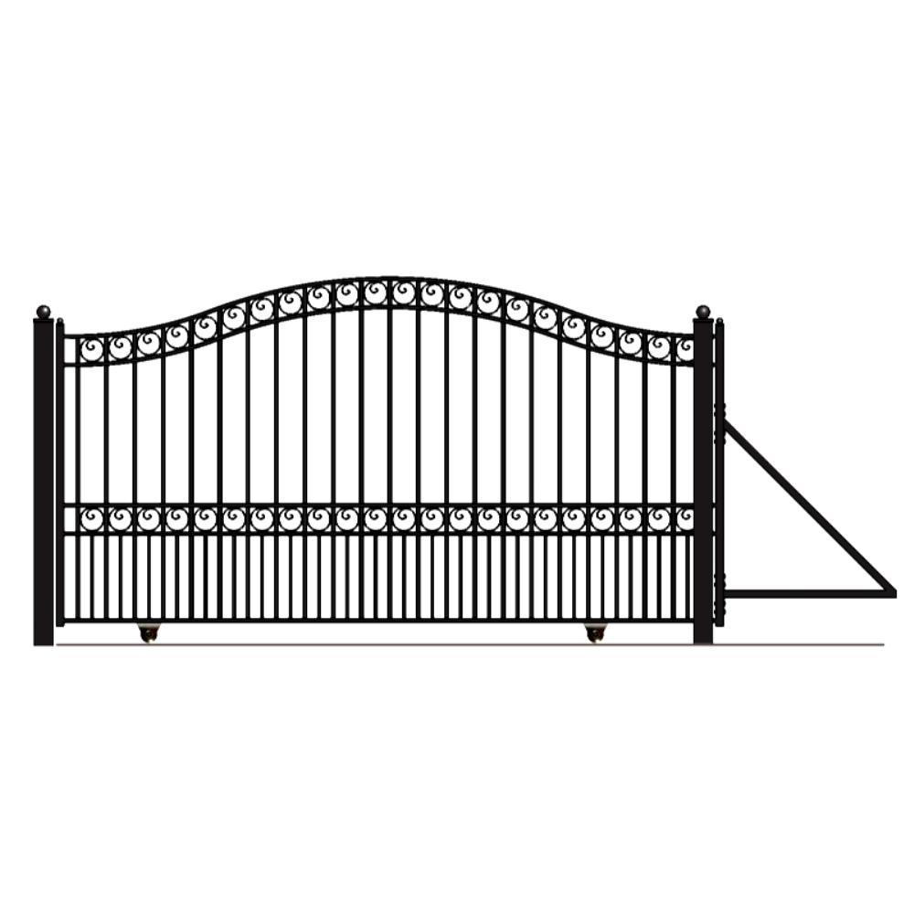 Paris Style 18 ft. x 6 ft. Black Steel Single Slide Driveway Fence Gate