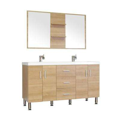 The Modern 56.5 in. W x 19.875 in. D Bath Vanity in Light Oak w/ Acrylic Vanity Top in White w/ White Basin and Mirror