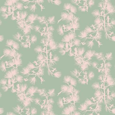 Baby Collection Fairy Forest in Celadon Removable and Repositionable Wallpaper