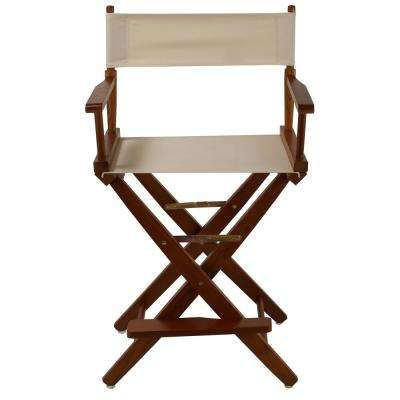 24 in. Extra-Wide Mission Oak Wood Frame/Natural Canvas Seat Folding Directors Chair
