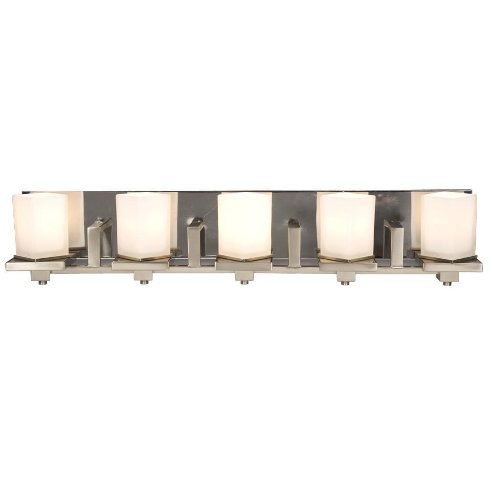 Filament Design Negron 5-Light Brushed Nickel and Chrome Halogen Bath Vanity