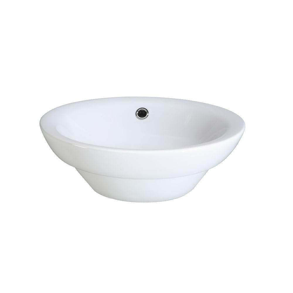 Awesome RYVYR Semi Recessed Round Ceramic Vessel Sink In White