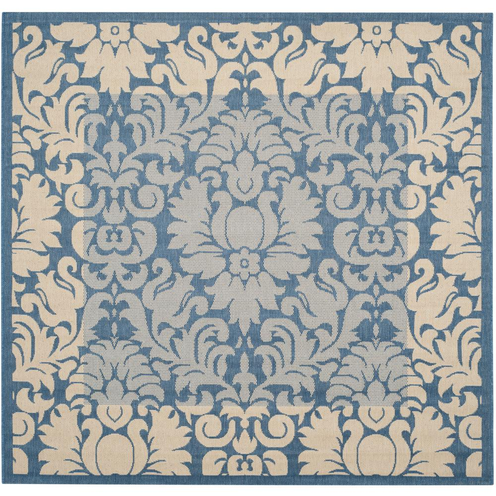 Courtyard Blue/Natural 7 ft. 10 in. x 7 ft. 10 in.