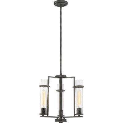 3-Light Iron Black Chandelier