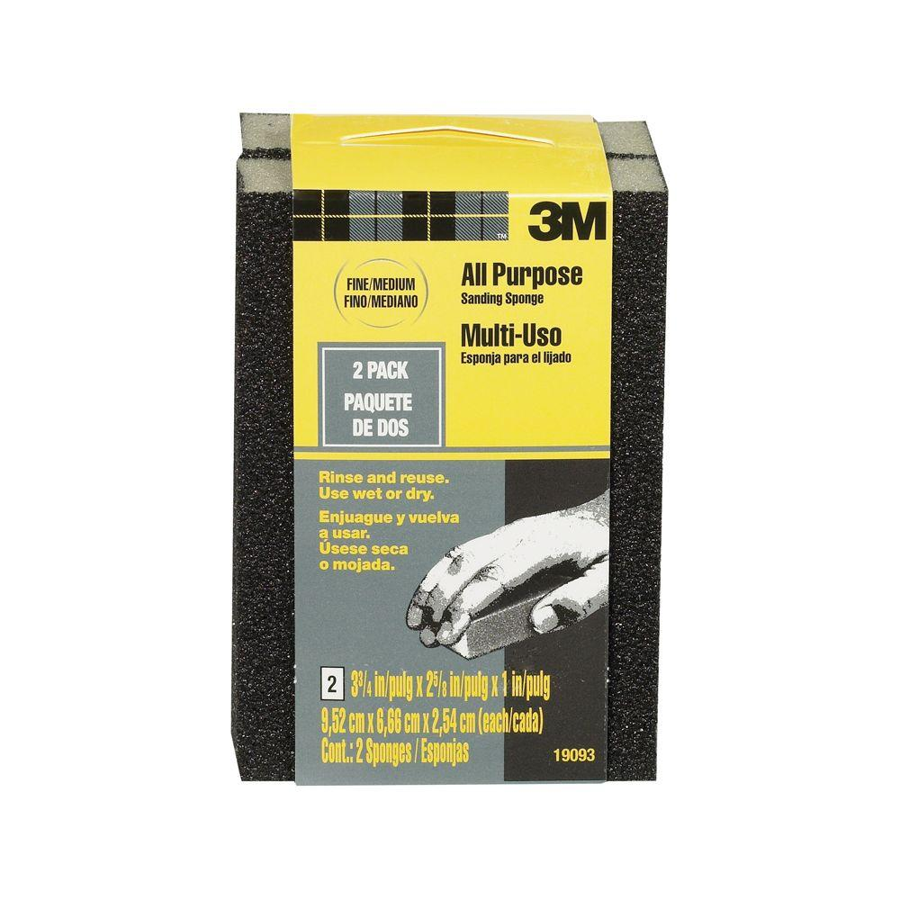 3M 80 Grit Fine to Medium All-Purpose Drywall Sanding Sponge (2-Pack)