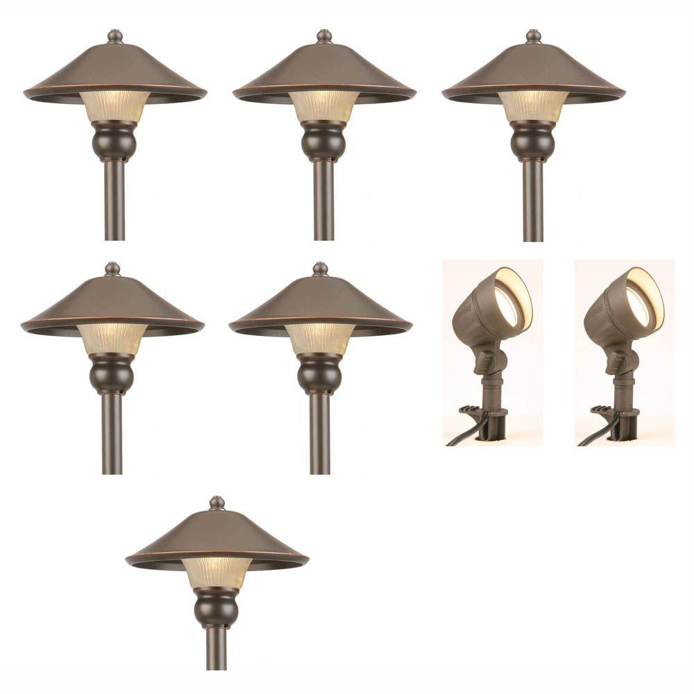 Low voltage landscape lighting outdoor lighting the home depot low voltage bronze outdoor integrated led landscape path light and flood light kit 8 workwithnaturefo