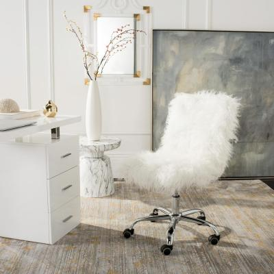 Whitney White/Chrome Faux Sheepskin Swivel Office Chair