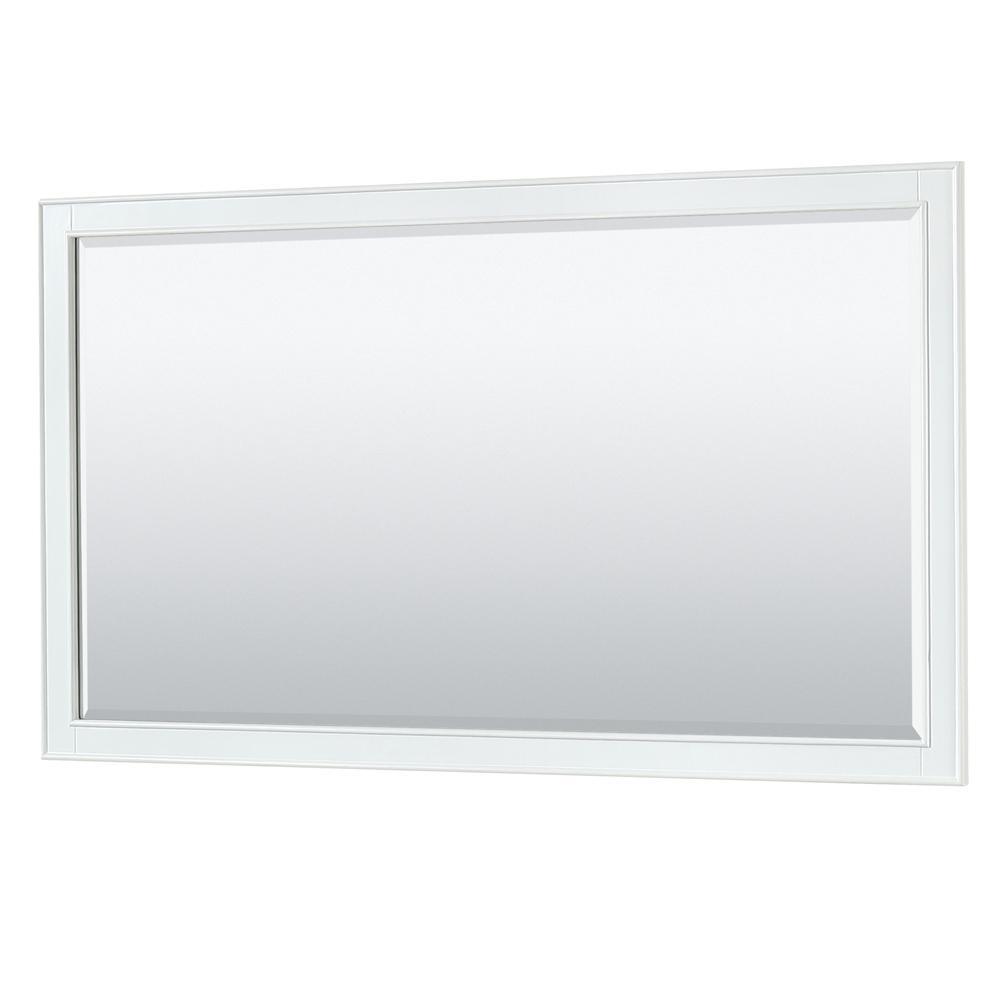 Deborah 58 in. W x 33 in. H Framed Rectangular Bathroom Vanity Mirror in White