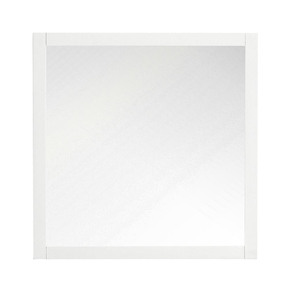 34.00 in. W x 34.00 in. H Framed Square  Bathroom Vanity Mirror in White
