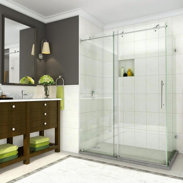 Coraline 44 - 48 in. x 33.875 in. x 76 in. Completely Frameless Sliding Shower Enclosure in Brushed Stainless Steel
