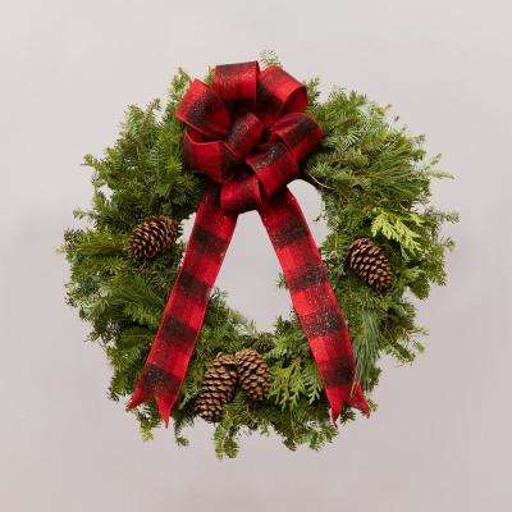 24 in. Live Wreath, Fresh Cut Mixed Greens, Buffalo Check Print Bow and Natural Pinecones
