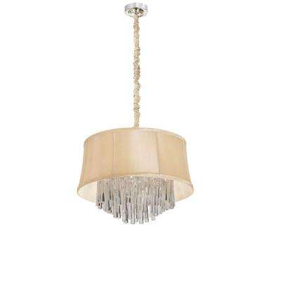 Catherine 3 Light Halogen Polished Chrome Chandelier with Cream Fabric Shades