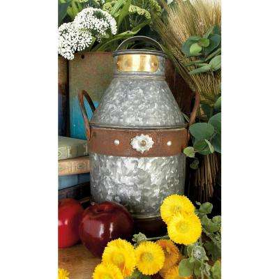 7 in. x 13 in. Distressed Gray and Brown Iron Milk Can with 2 Handles