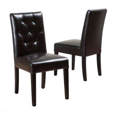 Gentry Browner Bonded Leather Tufted Dining Chair (Set of 2)