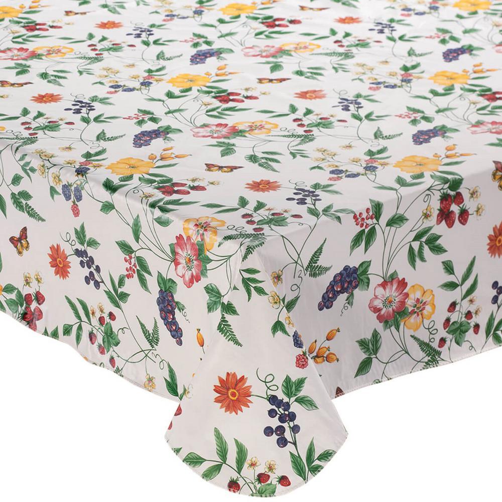 Enchanted Garden 60 in. x 84 in. 100% Vinyl Tablecloth