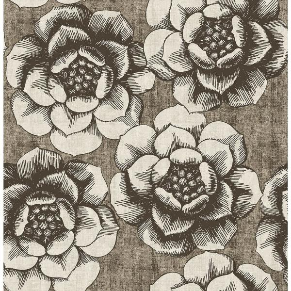 A-Street 56.4 Sq. Ft. Fanciful Brown Floral Wallpaper 2763