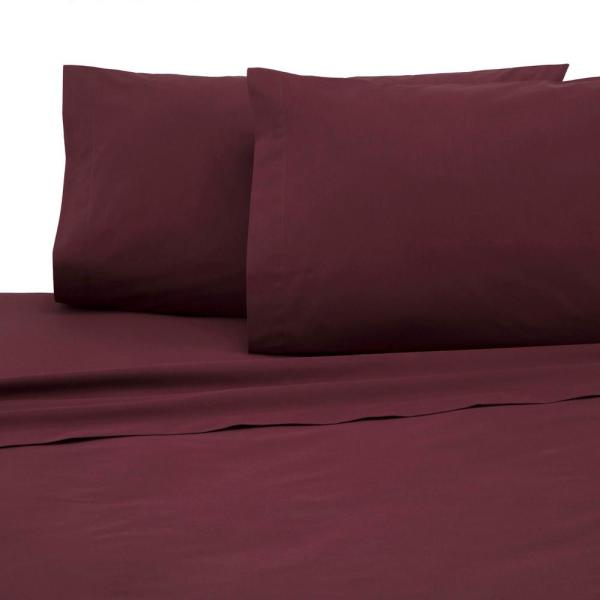 4-Piece Wine Solid 225 Thread Count Cotton Blend Queen Sheet Set