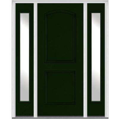68.5 in. x 81.75 in. Right-Hand Clear 2-Panel Archtop Painted Fiberglass Smooth Exterior Door with Sidelites