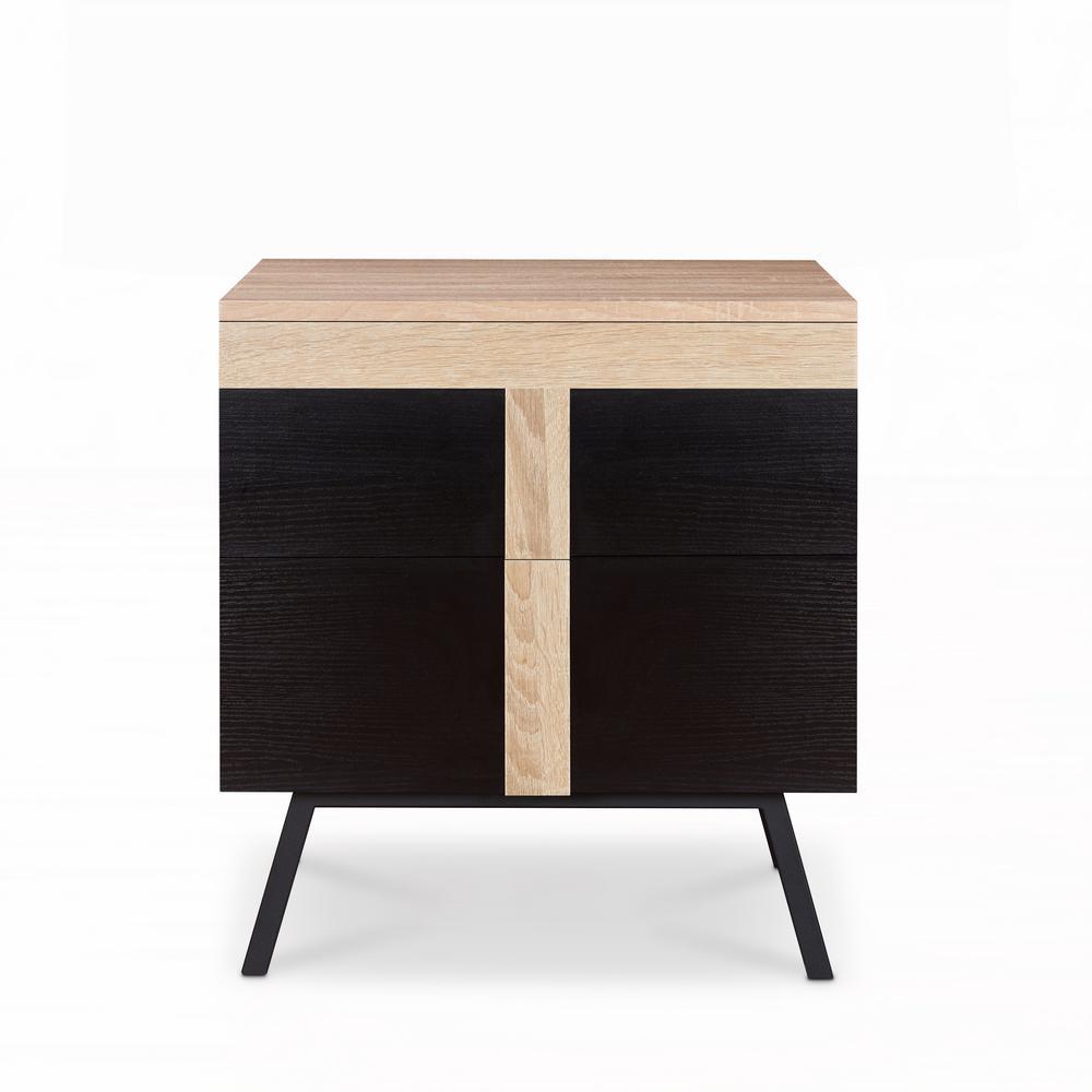 safavieh jefferson medium oak and black end table fox1004a the home depot. Black Bedroom Furniture Sets. Home Design Ideas
