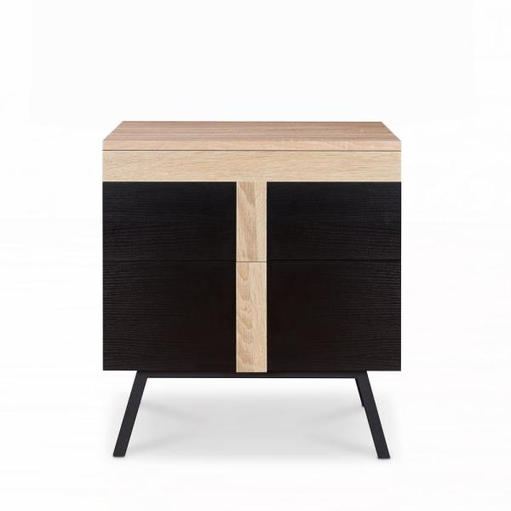 Acme Furniture Nuria Weathered Light Oak and Black End Table 80582
