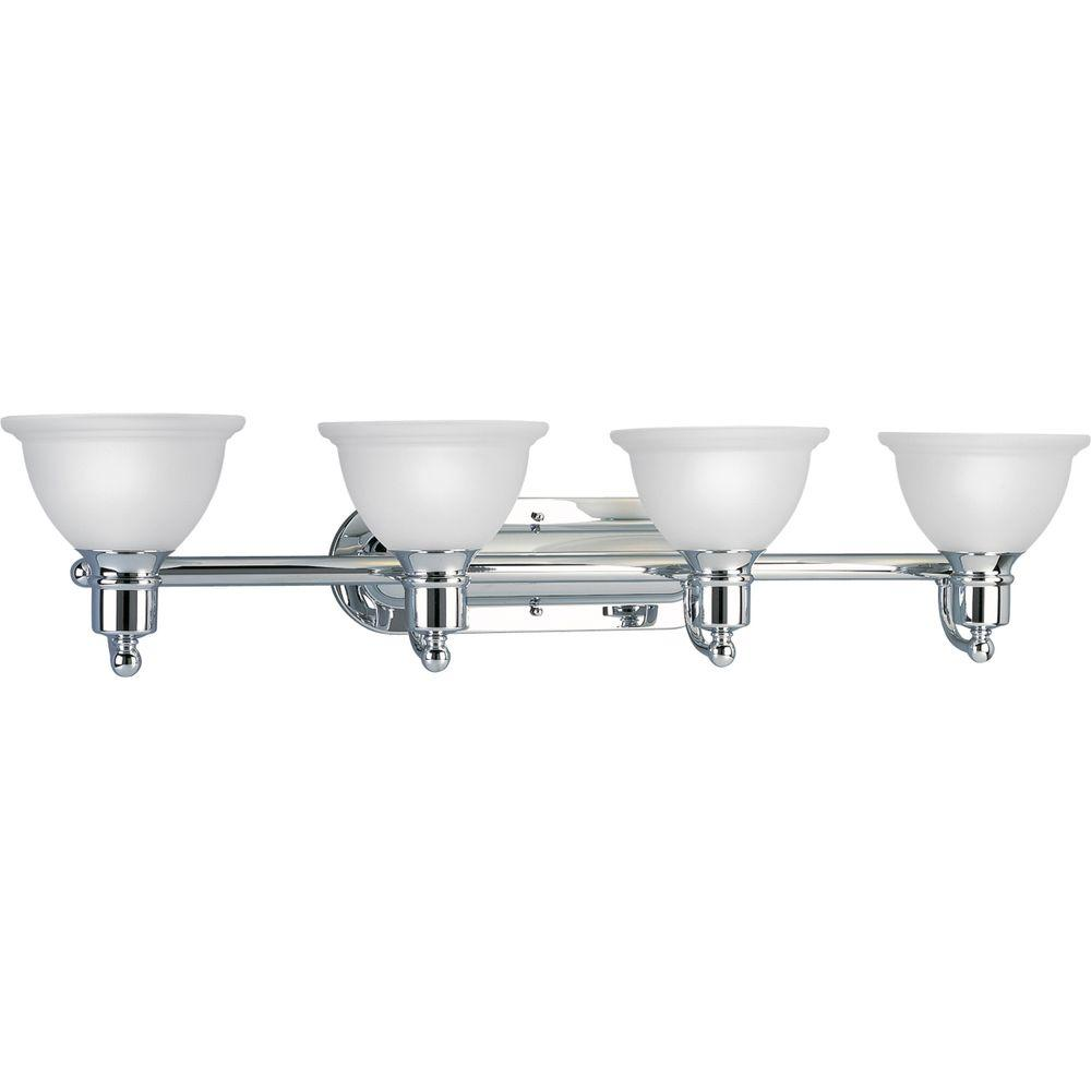 Progress Lighting Madison Collection 4 Light Polished Chrome Bathroom Vanity With Gl Shades