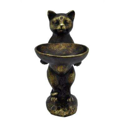 Decorative Bronze Resin Cat Birdfeeder