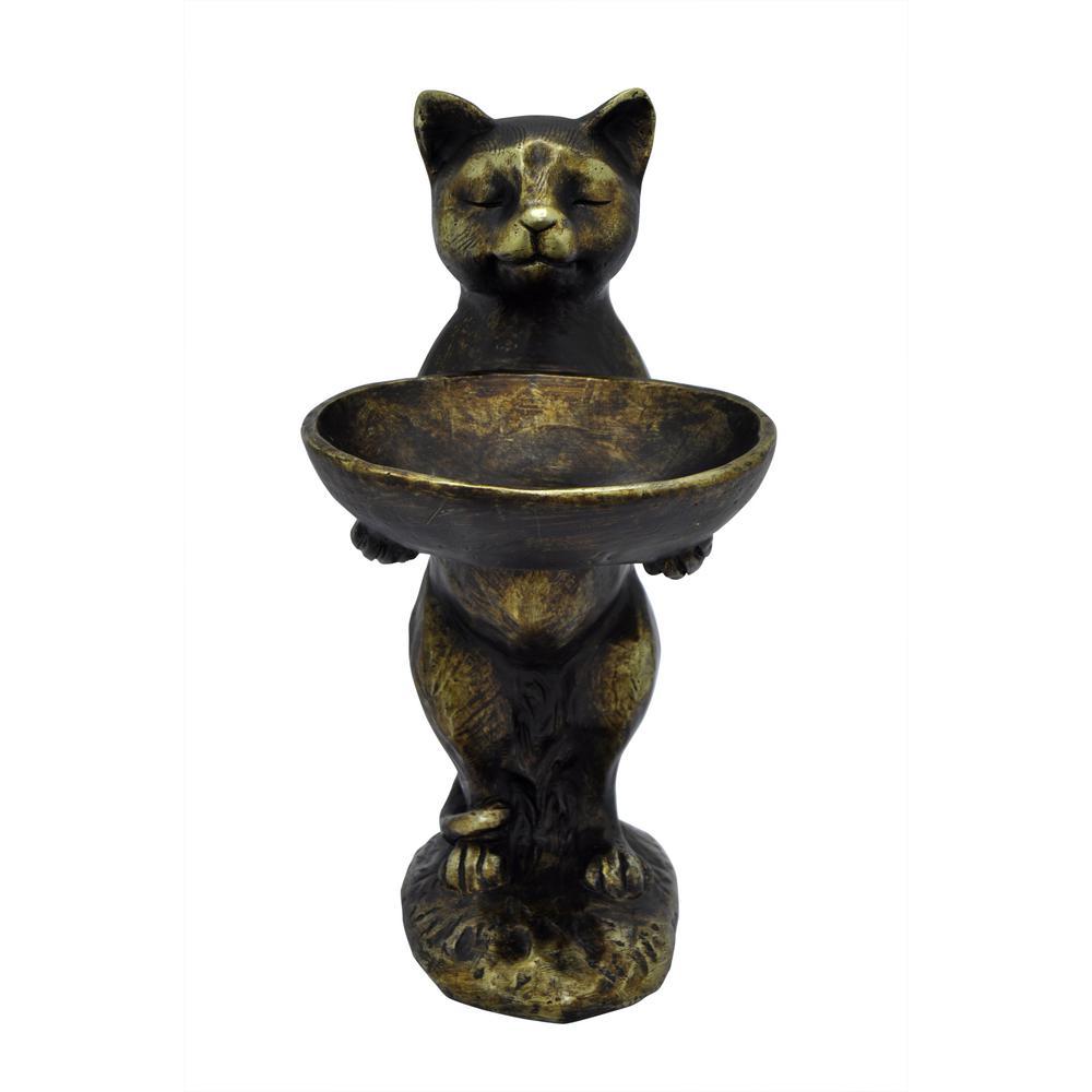 Decorative Bronze Resin Cat Birdfeeder