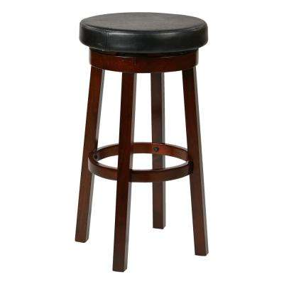 Metro 30 in. Black Faux Leather Round Barstool