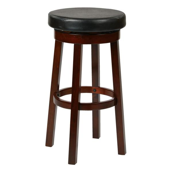 OSP Home Furnishings Metro 30 in. Black Faux Leather Round Barstool