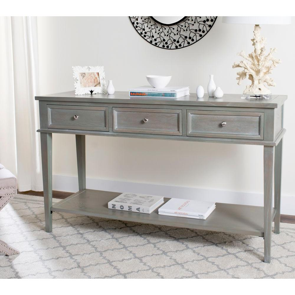 safavieh manelin ash gray storage console table amh6641c the home depot. Black Bedroom Furniture Sets. Home Design Ideas