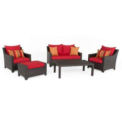 Deco 5-Piece Aluminum All-Weather Wicker Patio Love and Club Seating Set with Sunset Red Cushions